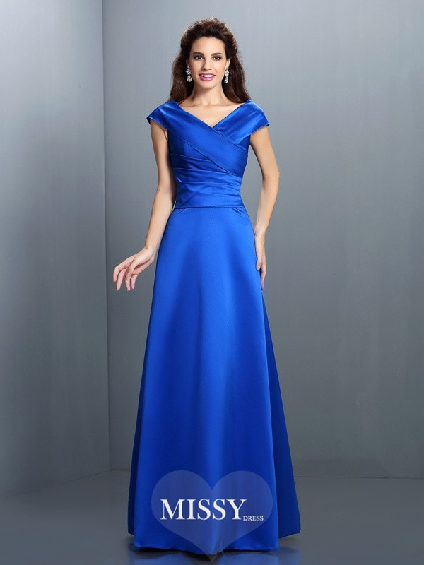 A-Line/Princess V-neck Sleeveless Floor-Length Satin Gowns