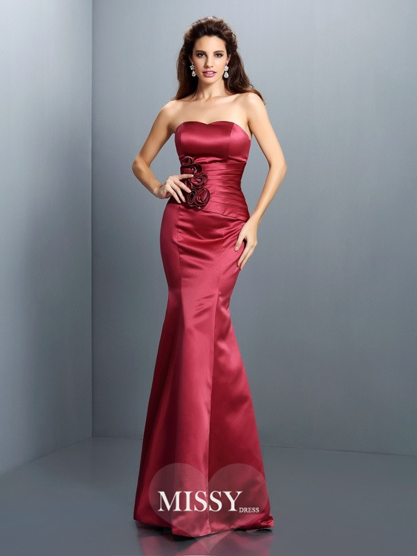 Trumpet/Mermaid Strapless Sleeveless Hand-Made Flower Floor-Length Satin Gowns