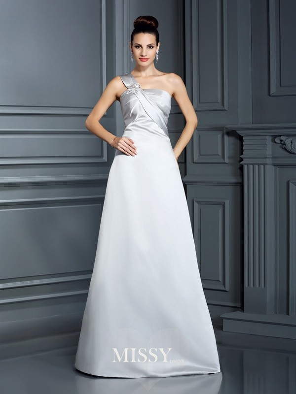 A-Line One-Shoulder Sleeveless Floor-Length Satin Dresses