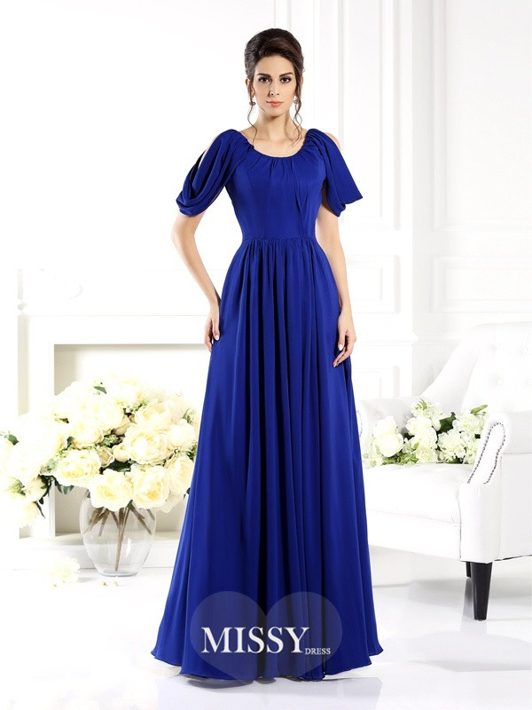 A-Line/Princess Scoop Sleeveless Floor-Length Chiffon Bridesmaid Gowns