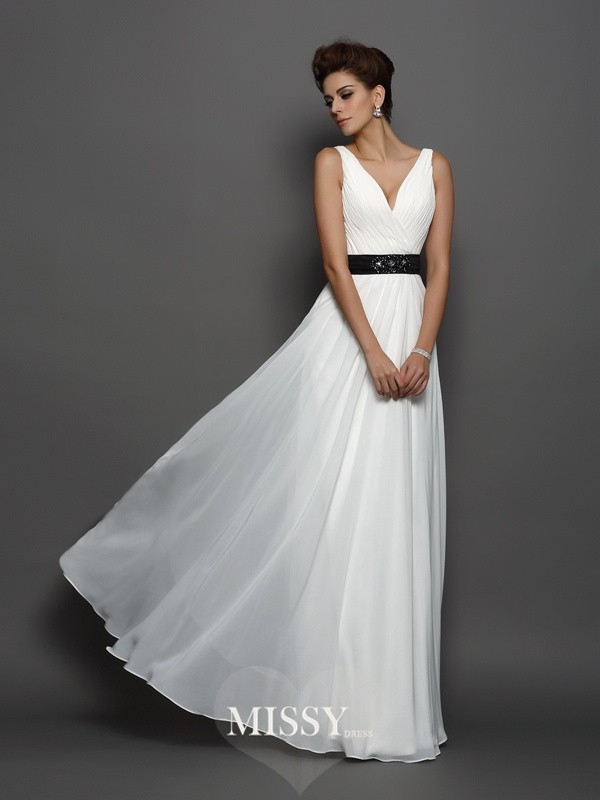 A-Line/Princess V-neck Chiffon Sash/Ribbon/Belt Floor-Length Wedding Dresses