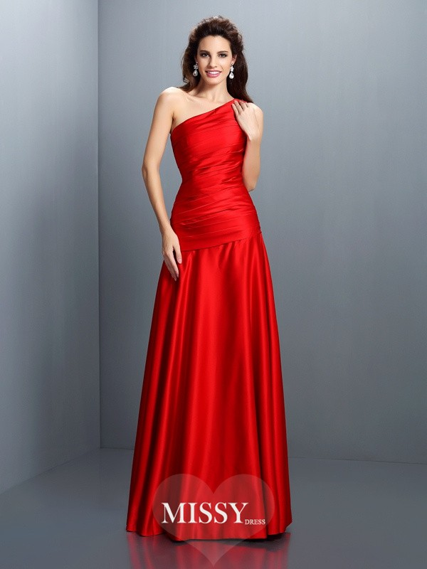 A-Line/Princess One-Shoulder Sleeveless Pleats Floor-Length Satin Gowns