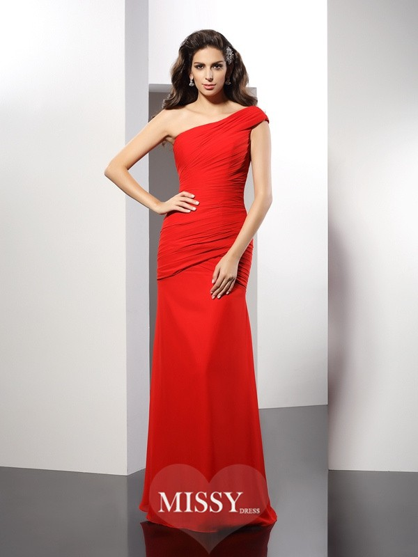Sheath/Column One-Shoulder Pleats Sleeveless Floor-Length Chiffon Gowns