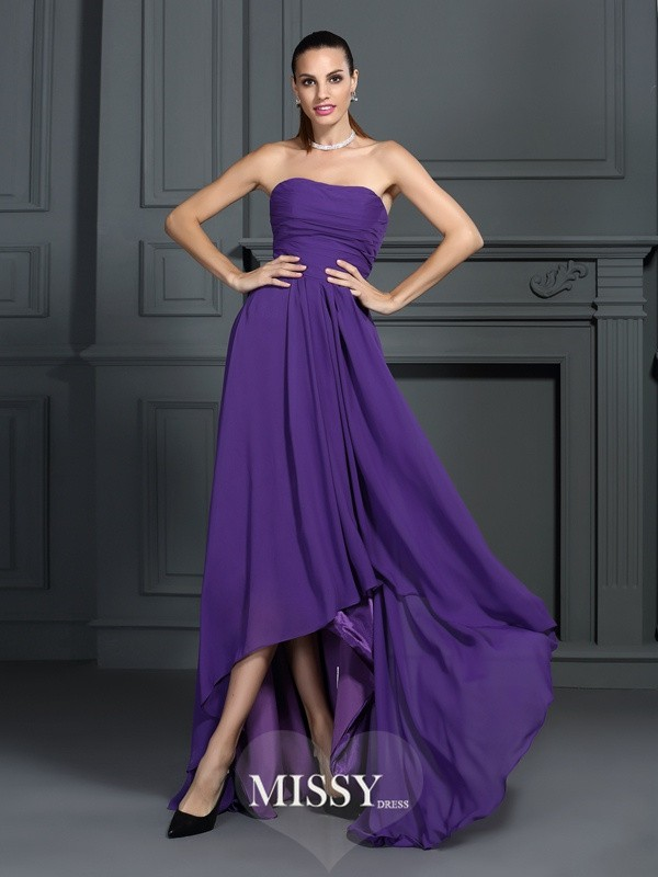 A-Line/Princess Strapless Sleeveless Pleats Asymmetrical Chiffon Gowns
