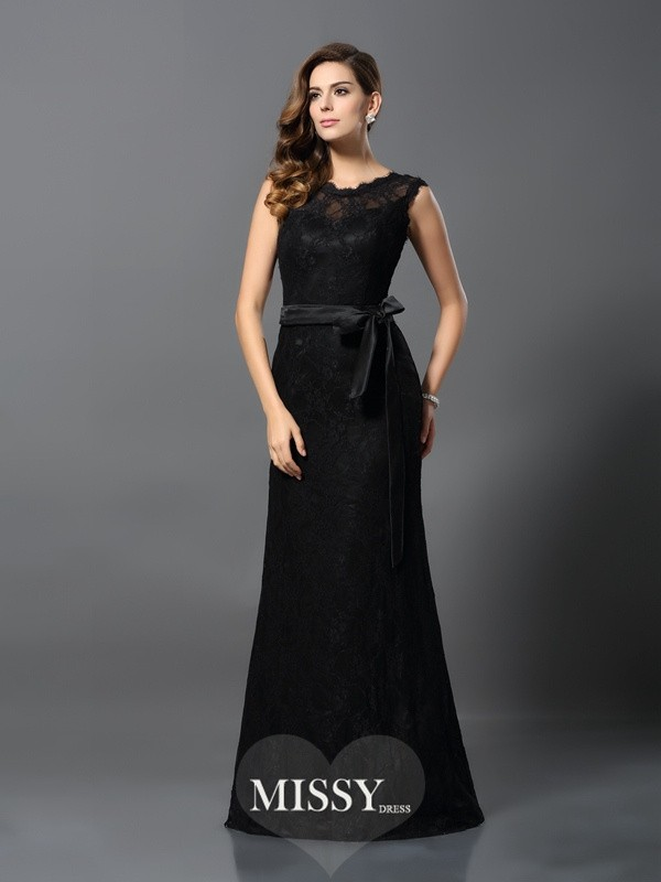 Sheath/Column Scoop Satin Lace Floor-Length Dresses