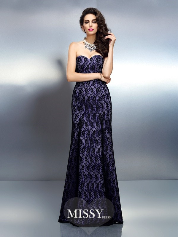 Trumpet/Mermaid Sweetheart Sleeveless Floor-Length Lace Satin Dresses