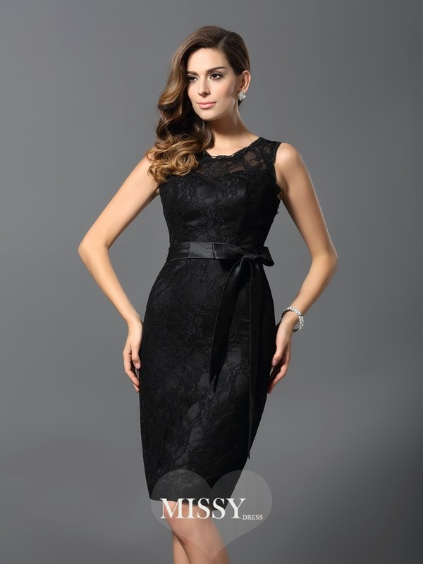 Sheath/Column Sleeveless Jewel Satin Lace Knee-Length Gowns