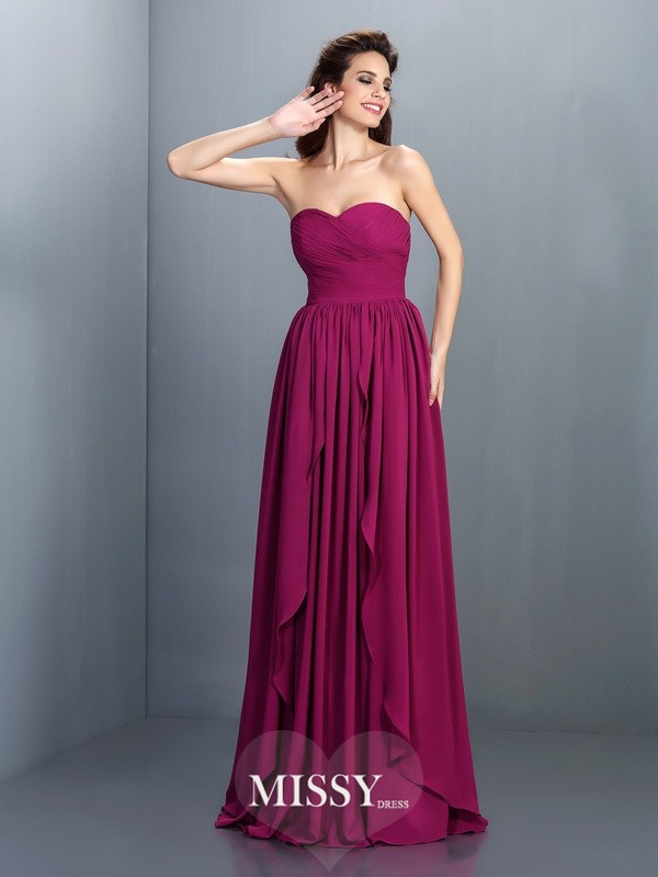 Sweetheart Princess Sleeveless Floor-Length Chiffon Dresses