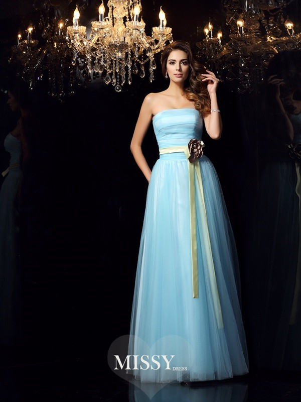 Ball Gown Strapless Satin Floor-Length Sash/Ribbon/Belt Dresses