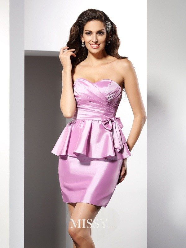 Sheath/Column Sweetheart Sleeveless Bowknot Short/Mini Taffeta Gowns