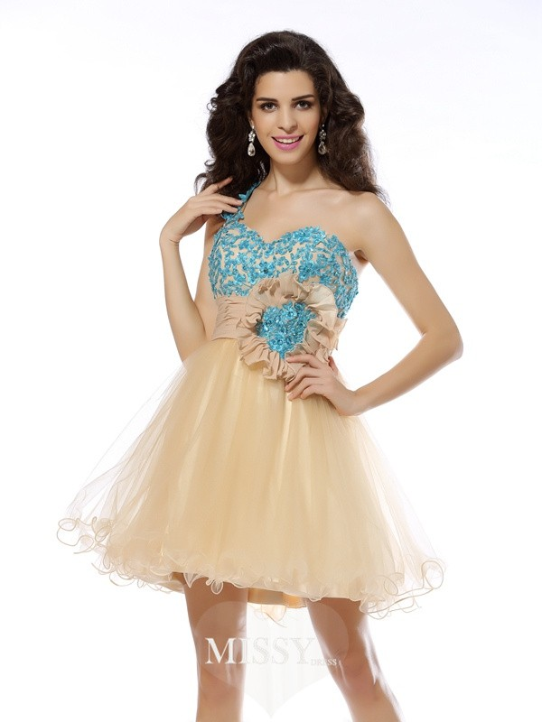 A-Line/Princess One-Shoulder Sleeveless Applique Short/Mini Net Gowns