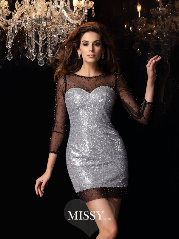 Sheath/Column Scoop Sequins 3/4 Sleeves Beading Short/Mini Gowns