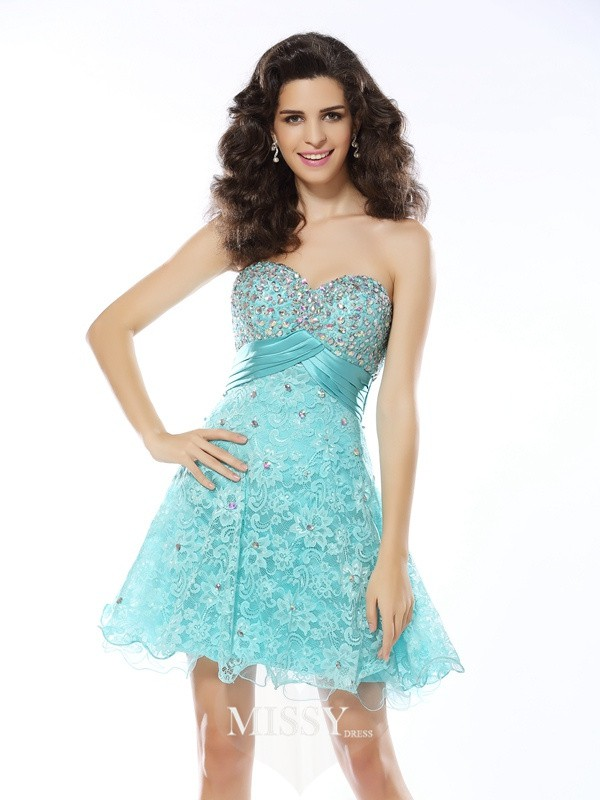 A-Line/Princess Sweetheart Satin Sleeveless Short/Mini Ruffles Gowns