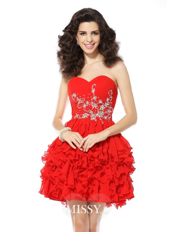 A-Line/Princess Sweetheart Beading Sleeveless Short/Mini Chiffon Gowns