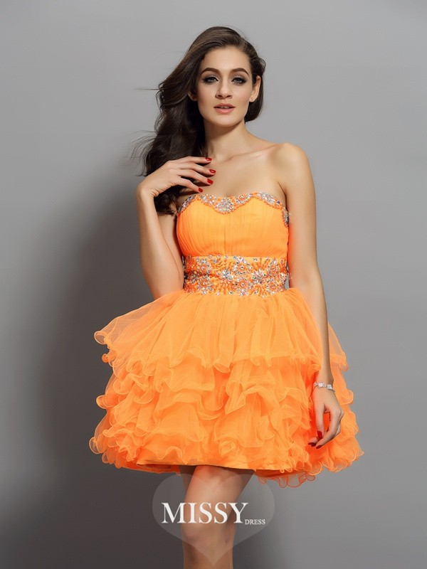 A-Line/Princess Satin Sweetheart Sleeveless Ruffles Mini Gowns