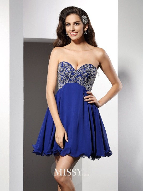 A-Line/Princess Sweetheart Sleeveless Ruffles Short Chiffon Gowns