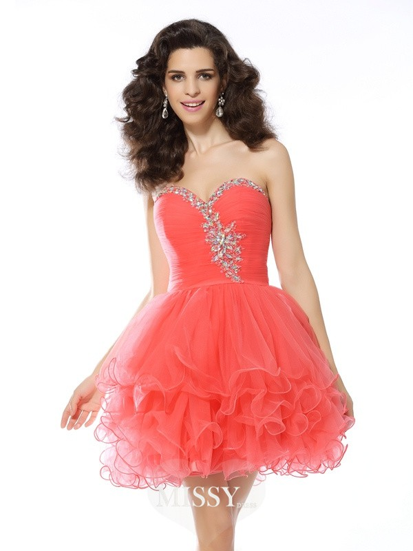A-Line/Princess Sleeveless Sweetheart Ruffles Satin Short/Mini Gowns