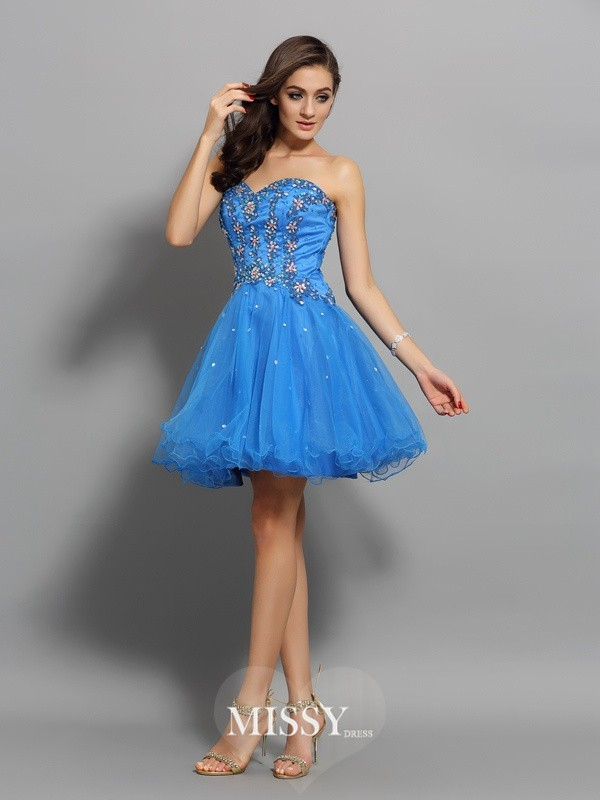 A-Line/Princess Satin Sleeveless Beading Sweetheart Short/Mini Gowns