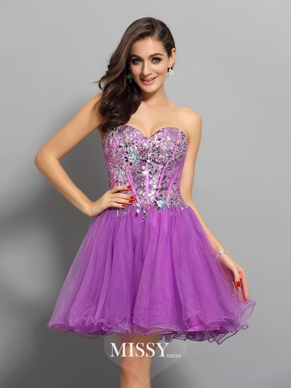 Sleeveless Sweetheart A-Line/Princess Satin Beading Short/Mini Gowns