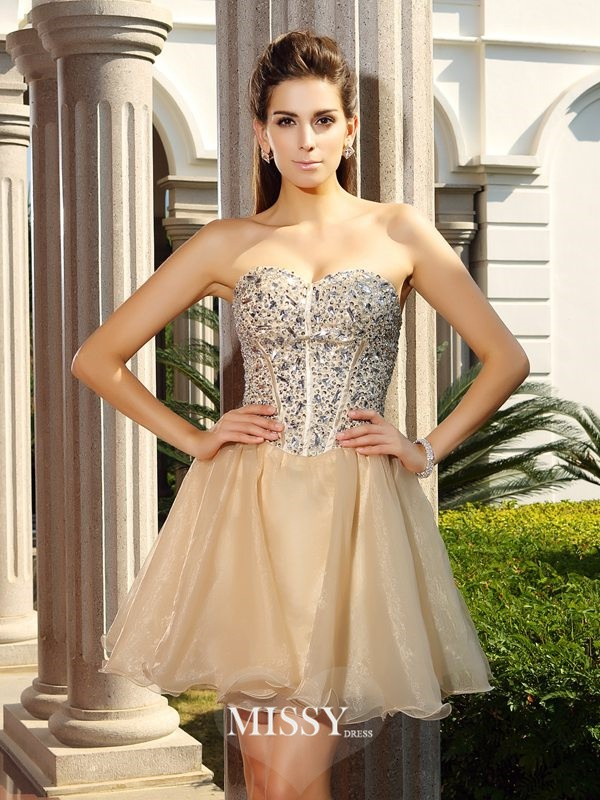 A-Line/Princess Sweetheart Ruffles Organza Short/Mini Sleeveless Gowns