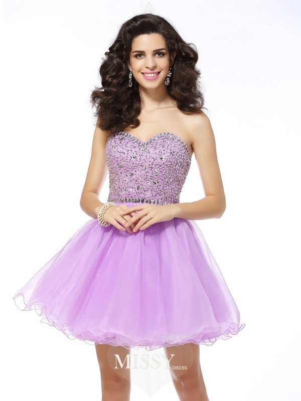 A-Line/Princess Sleeveless Sweetheart Organza Short/Mini Ruffles Gowns