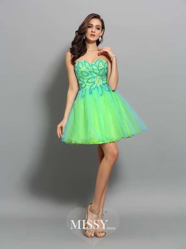 A-Line/Princess Sleeveless Net Sweetheart Beading Short/Mini Gowns