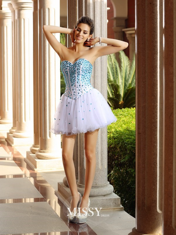 A-Line/Princess Sleeveless Sweetheart Tulle Short/Mini Ruffles Gowns