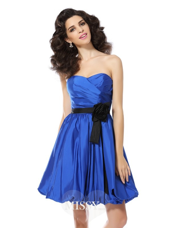 A-Line/Princess Sleeveless Sweetheart Hand-Made Flower Short/Mini Taffeta Gowns