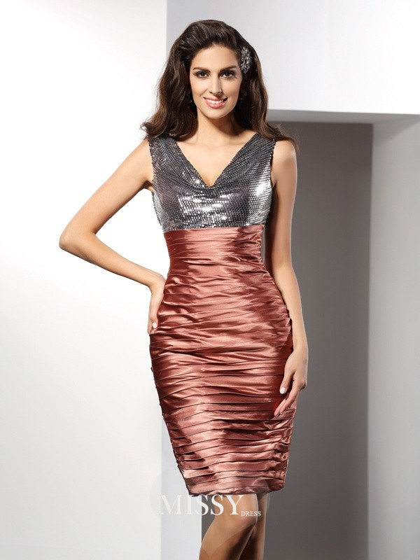 Sheath/Column V-neck Sleeveless Knee-Length Silk like Satin Gowns