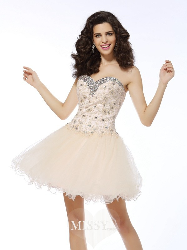 Sleeveless A-Line/Princess Sweetheart Satin Ruffles Short/Mini Gowns