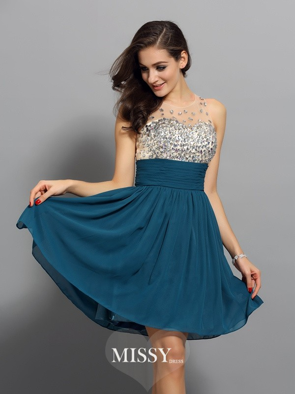 A-Line/Princess Bateau Chiffon Sleeveless Rhinestone Short/Mini Gowns