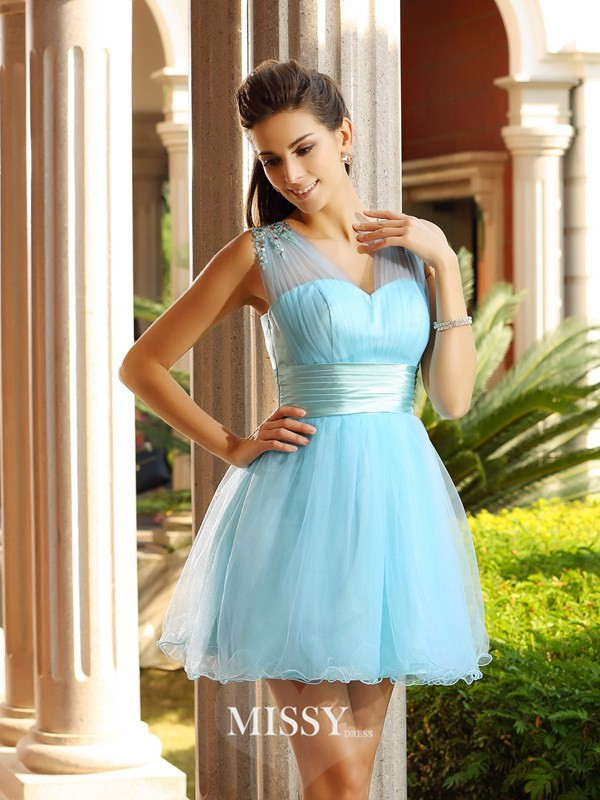 A-Line/Princess Sleeveless V-neck Net Pleats Beading Short/Mini Gowns