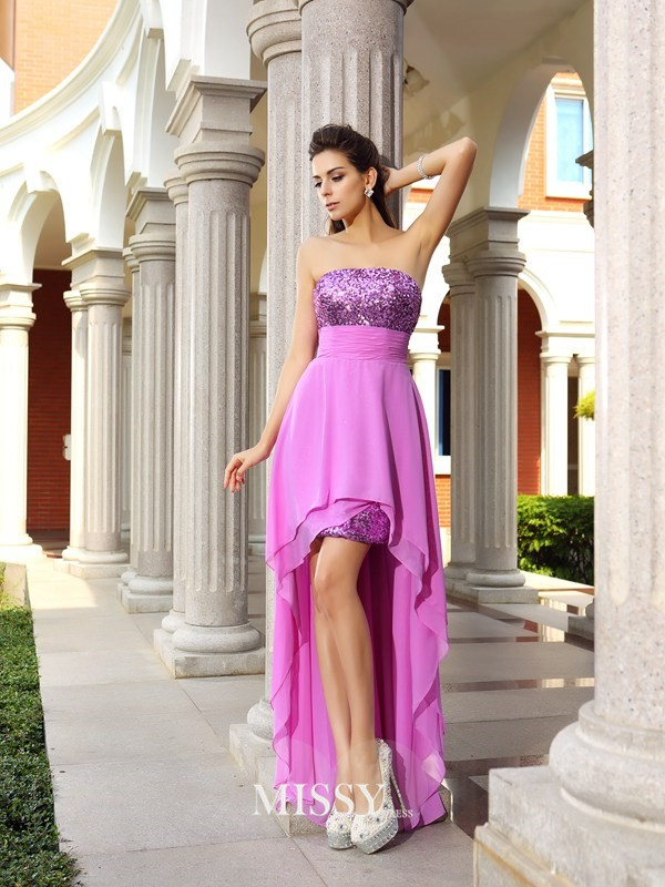 A-Line/Princess Sleeveless Strapless Chiffon Beading Asymmetrical Gowns