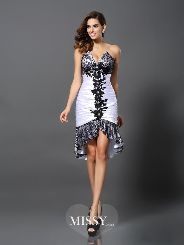 Sheath/Column Sleeveless Sweetheart Elastic Woven Satin Lace Asymmetrical Gowns