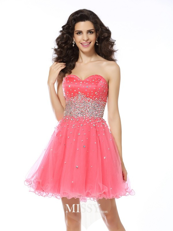 A-Line/Princess Sleeveless Beading Sweetheart Organza Short/Mini Gowns