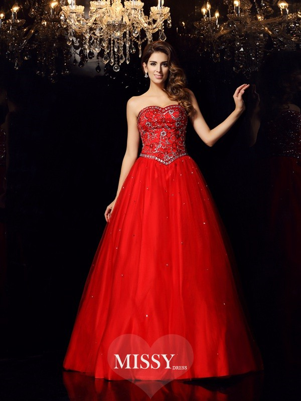 Ball Gown Sweetheart Satin Floor-Length Beading Dresses