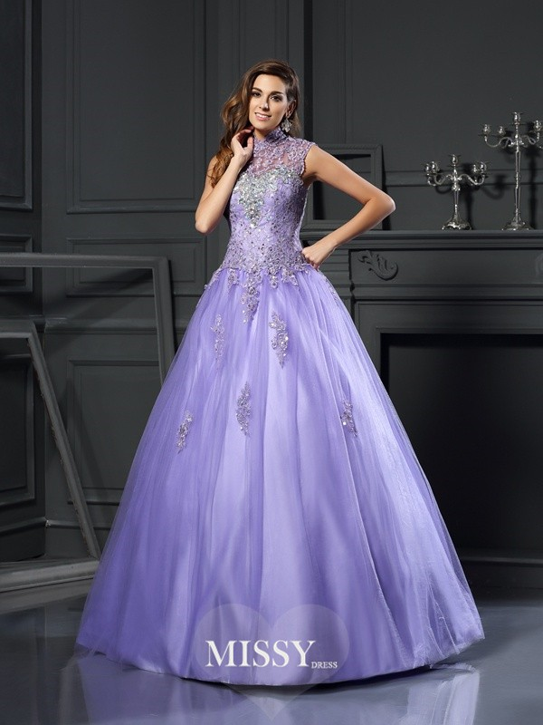 Ball Gown High Neck Net Beading Floor-Length Applique Dresses