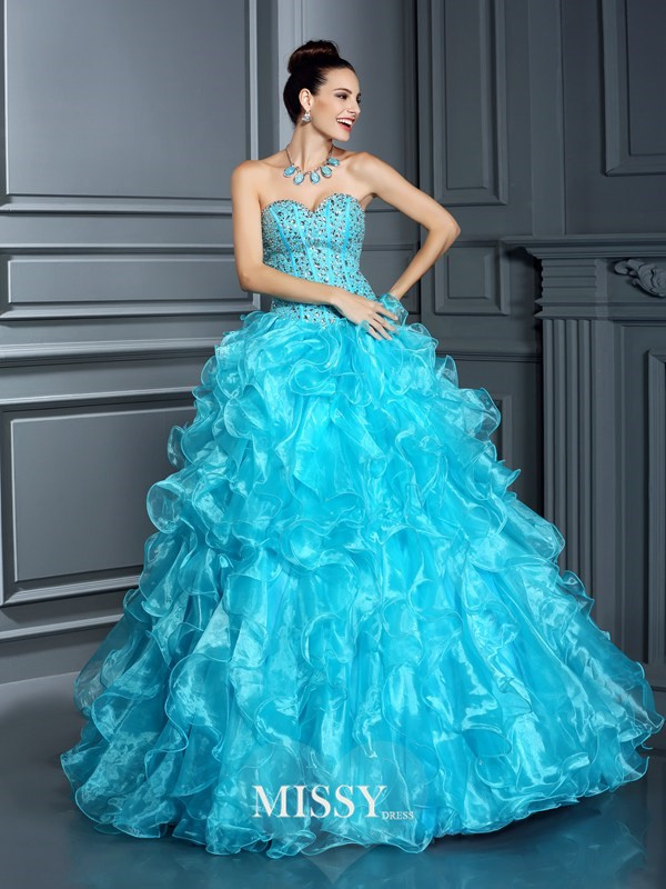 Ball Gown Sweetheart Beading Long Quinceanera Dresses