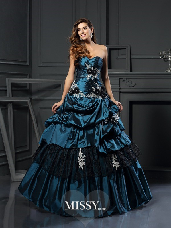 Ball Gown Sweetheart Taffeta Beading Applique Floor-Length Dresses