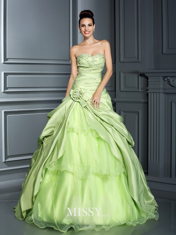 Ball Gown Sweetheart Hand-Made Flower Floor-Length Taffeta Quinceanera Dresses