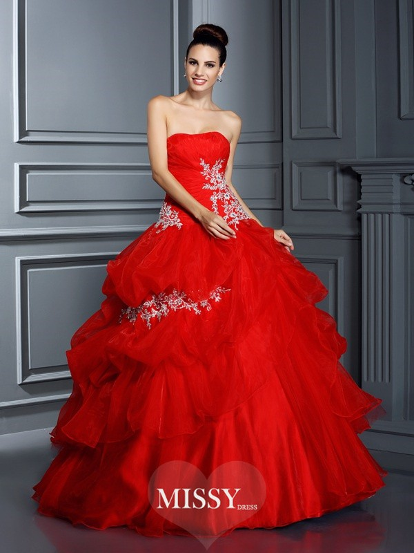 Ball Gown Strapless Applique Floor-Length Organza Quinceanera Dresses