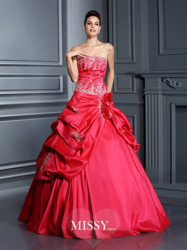 Ball Gown Strapless Applique Floor-Length Taffeta Quinceanera Dresses