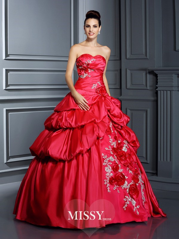Ball Gown Sweetheart Hand-Made Flower Long Taffeta Quinceanera Dresses