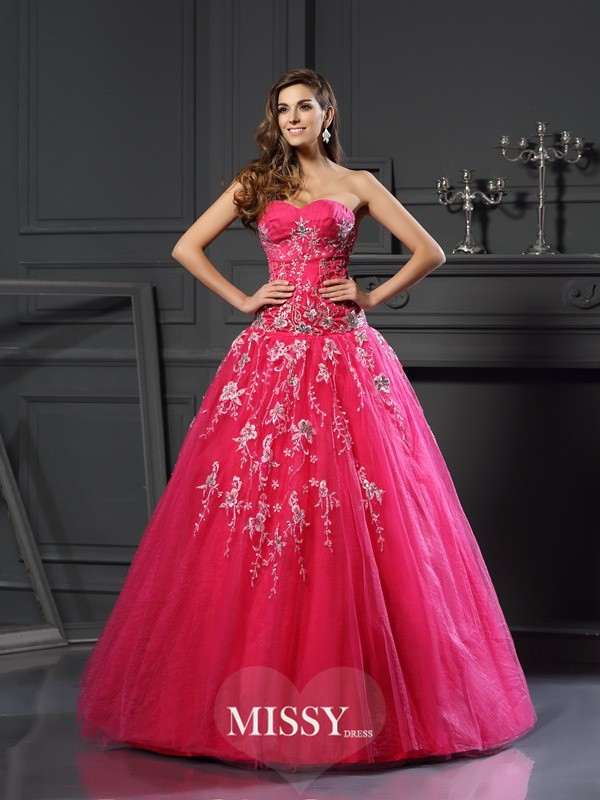 Ball Gown Sweetheart Net Floor-Length Applique Dresses