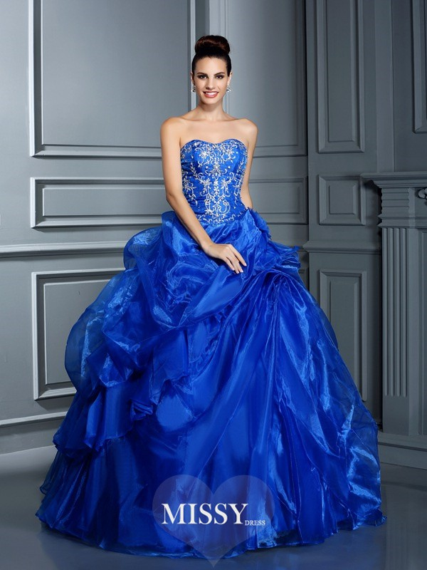Ball Gown Sweetheart Applique Floor-Length Satin Quinceanera Dresses