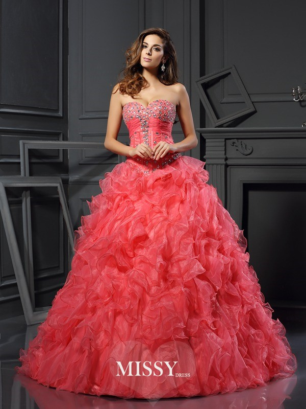 Ball Gown Organza Ruffles Sweetheart Floor-Length Dresses