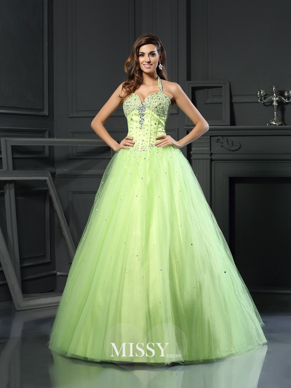 Ball Gown Halter Satin Floor-Length Beading Dresses
