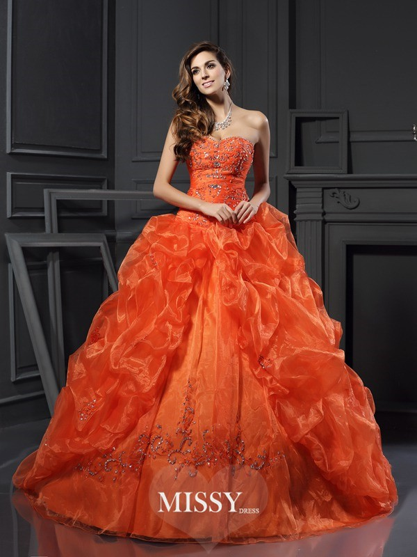 Ball Gown Sweetheart Beading Applique Court Train Organza Dresses