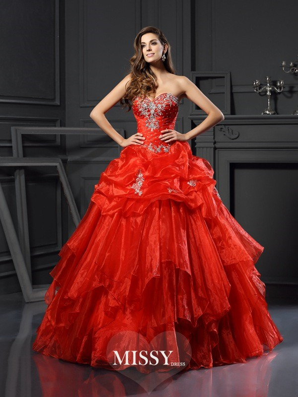 Ball Gown Sweetheart Beading Tulle Floor-Length Dresses