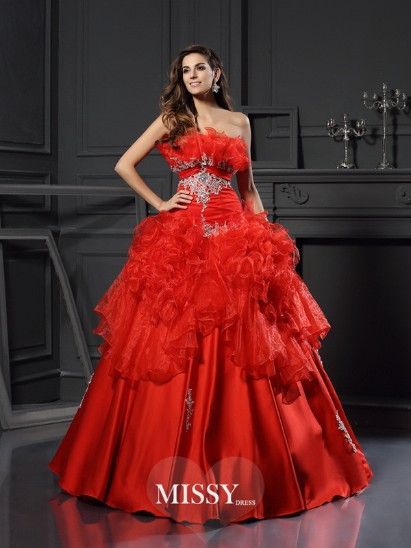 Ball Gown Strapless Organza Floor-Length Ruffles Dresses